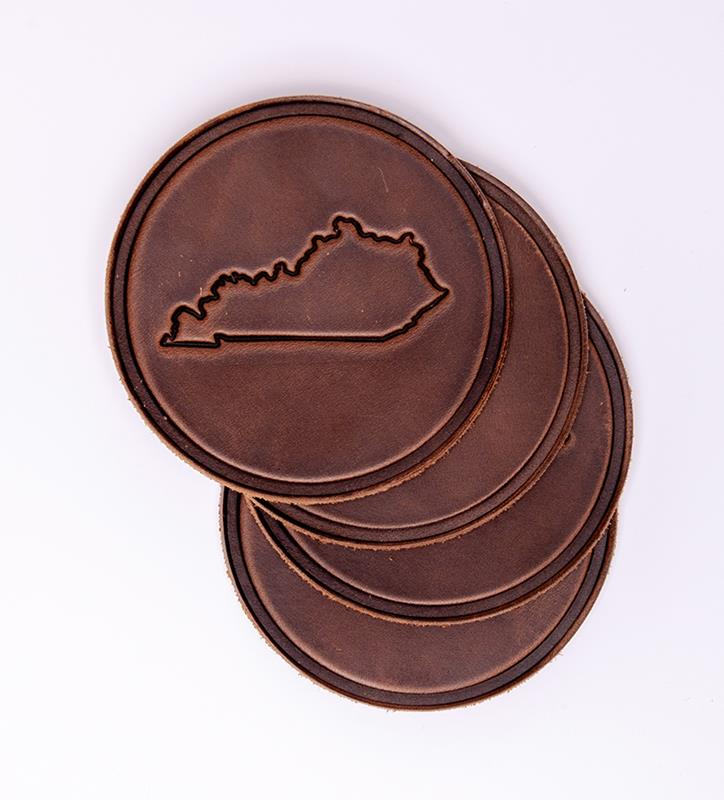 4 Pack Leather Kentucky Map Coasters