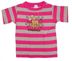 Kid's Striped Horse Tee Pink 2T