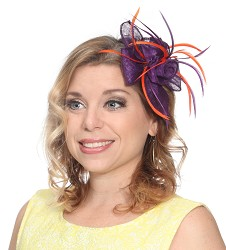 Flowers and Feather Clip Fascinator Purple/Orange