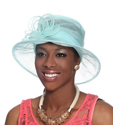 The Small Brim Organza Cloche Turquoise