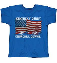 Youth Kentucky Derby Flag Tee Royal Blue 2/4