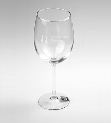 Churchill Downs Etched Wine Glass