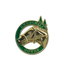 Churchill Downs Horse and Spires Circle Lapel Pin