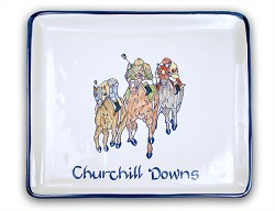 Churchill Downs Square App. Tray by Louisville Stoneware,CAYD101