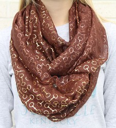 Gold Bit Infinity Scarf Brown