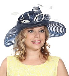 The Horsehair and Feathers Hat,S16BF605-NAVY/IVORY