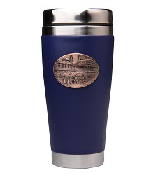 Leather Tumbler with First Turn Medallion Navy