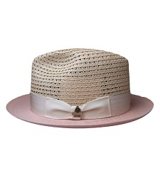 Men's Kentucky Derby Hemp Braid Fedora Natural/Pink Large