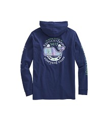 Vineyard Vines 2017 Patchwork Whale Hoodie Tee Dark Blue Small