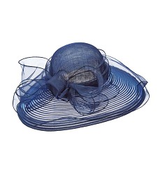 The Horsehair and Organza Lampshade Hat,LD78-NAVY