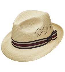 Men's Derby Argyle Vented Fedora Natural Beige Medium