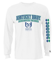 Kentucky Derby 143 Full Front Argyle Sleeve Tee White Small