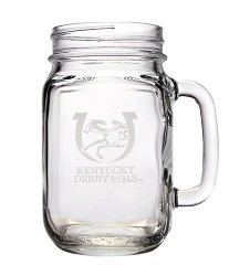 Kentucky Derby 143 Mason Jar Glass,01-009 LITE ETCH