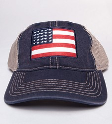 Kentucky Derby 143 Tea Stained Mesh Back Flag Cap Navy