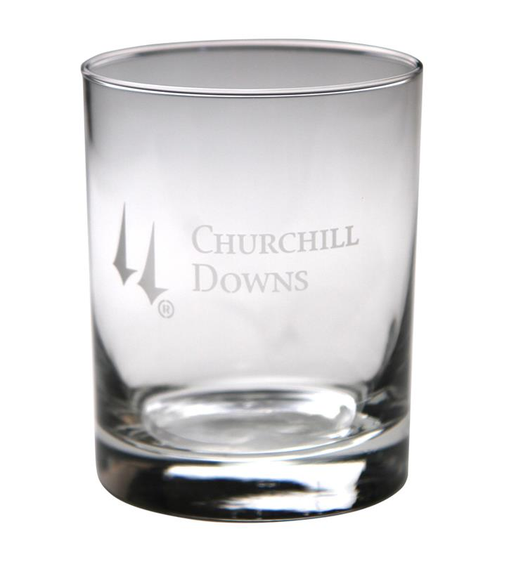 Churchill Downs Etched Round Double Old Fashioned Glass,01-304 LT ETCH 14 OZ