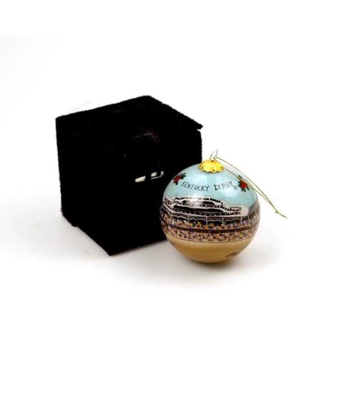 Churchill Downs Hand-Painted Glass Ornament