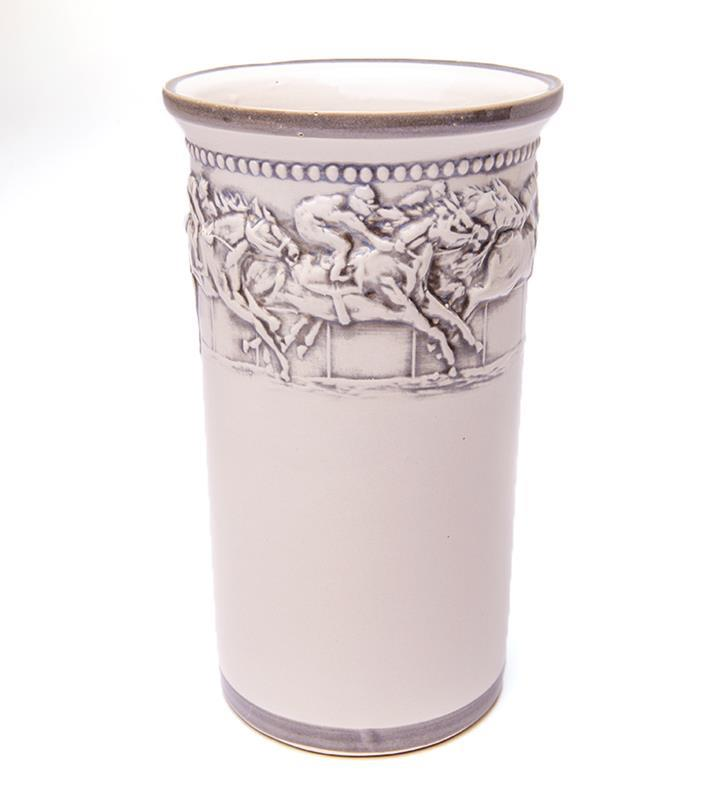 "10.5"" Embossed Running Horse Wine Cooler & Saucer,Louisville Stoneware,WINE COOLER"