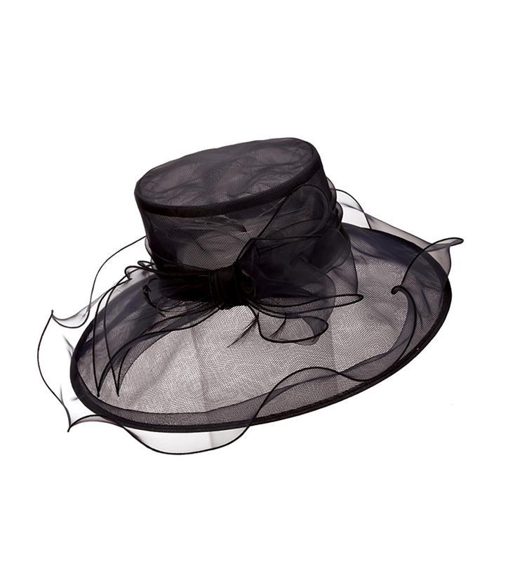 The Raeanne Organza Hat,LD13-BLACK