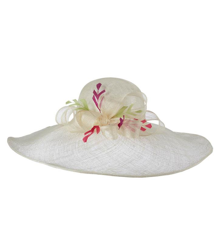 The Chevron Feather Floppy Brim Hat,KD63DERBY-IVORY