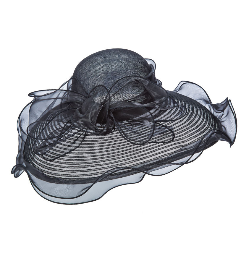 The Horsehair and Organza Lampshade Hat,LD89-ASST BLACK