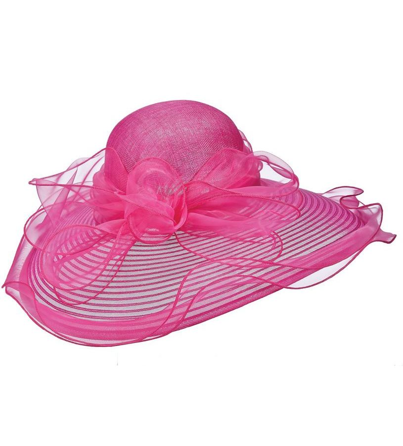 The Horsehair and Organza Lampshade Hat,LD89-ASST FUCHSIA