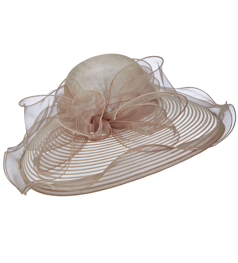 The Horsehair and Organza Lampshade Hat,LD89-ASST TAUPE