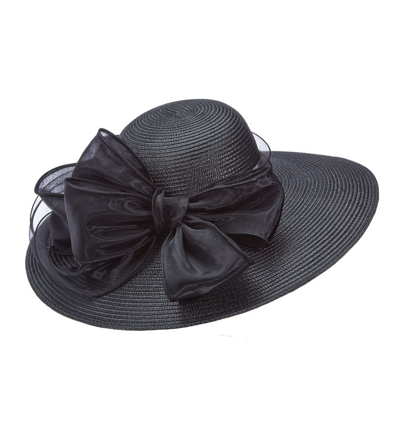The Poly Braid with Organza Hat,LD85-ASST BLACK