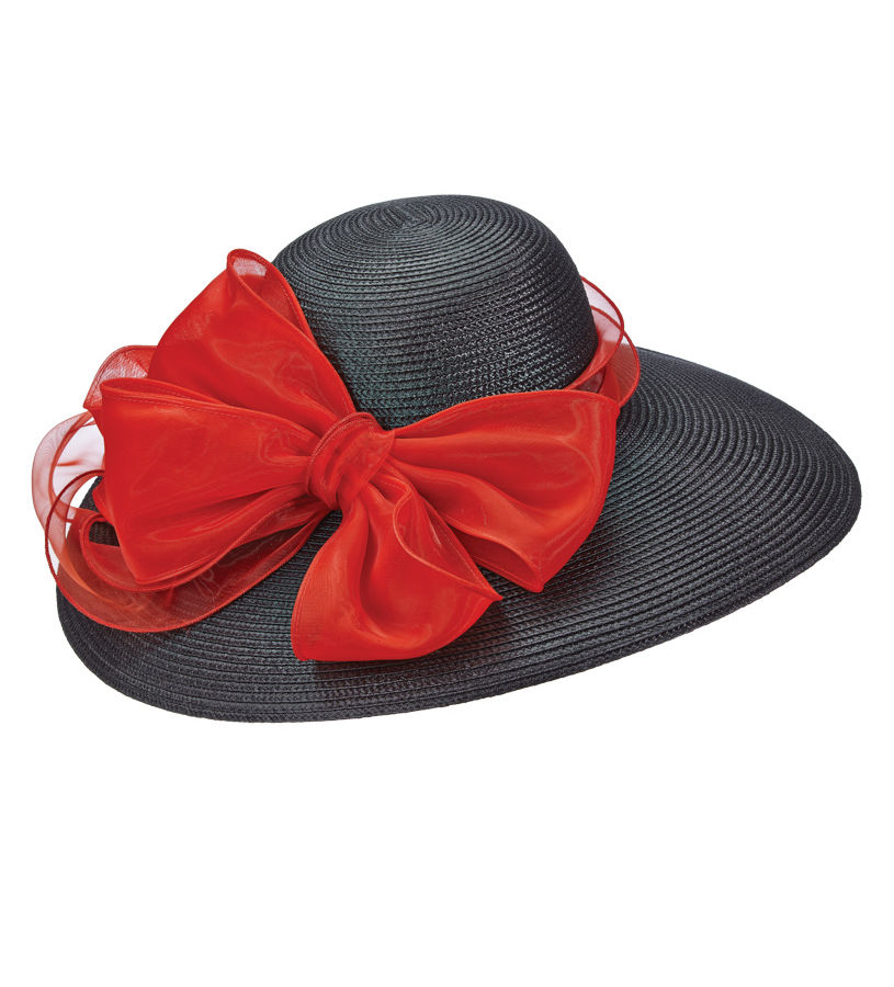 The Poly Braid with Organza Hat,LD85-ASST BLK/RED