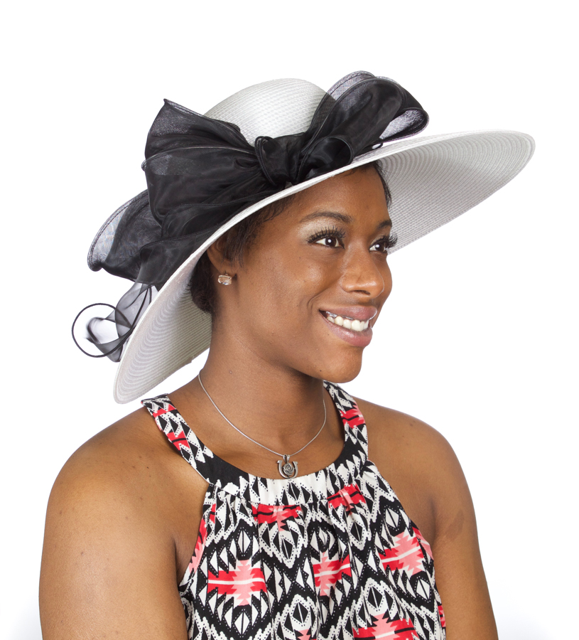 The Poly Braid with Organza Hat,LD85-ASST WHT/BLK