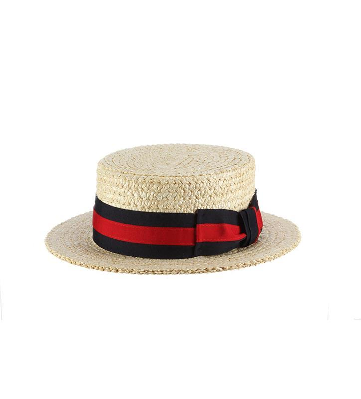 Men's Derby Straw Boater Hat,MS369-BLACH