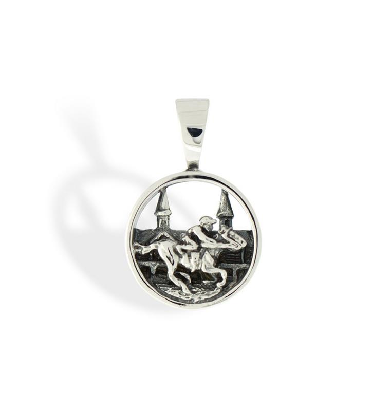259-06 Churchill Downs Grandstand w/ Horse & Jockey Pendant,Darren K. Moore,259-06 PENDANT