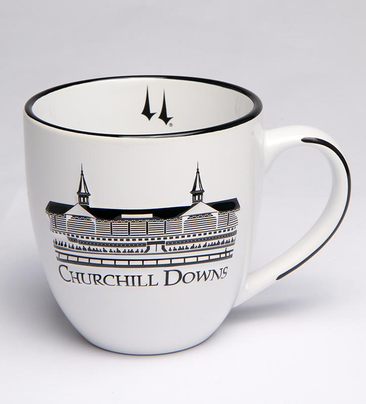 Churchill Downs Black and White Grandstand Bistro Mug,38208088