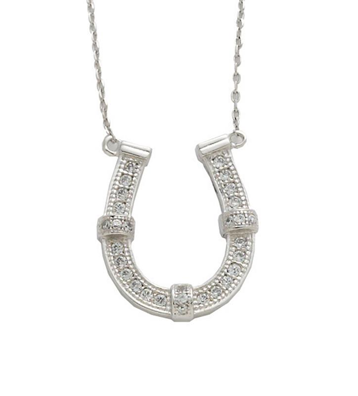 Rhodium-Plated Horseshoe Necklace,JN1678 RHODIUM