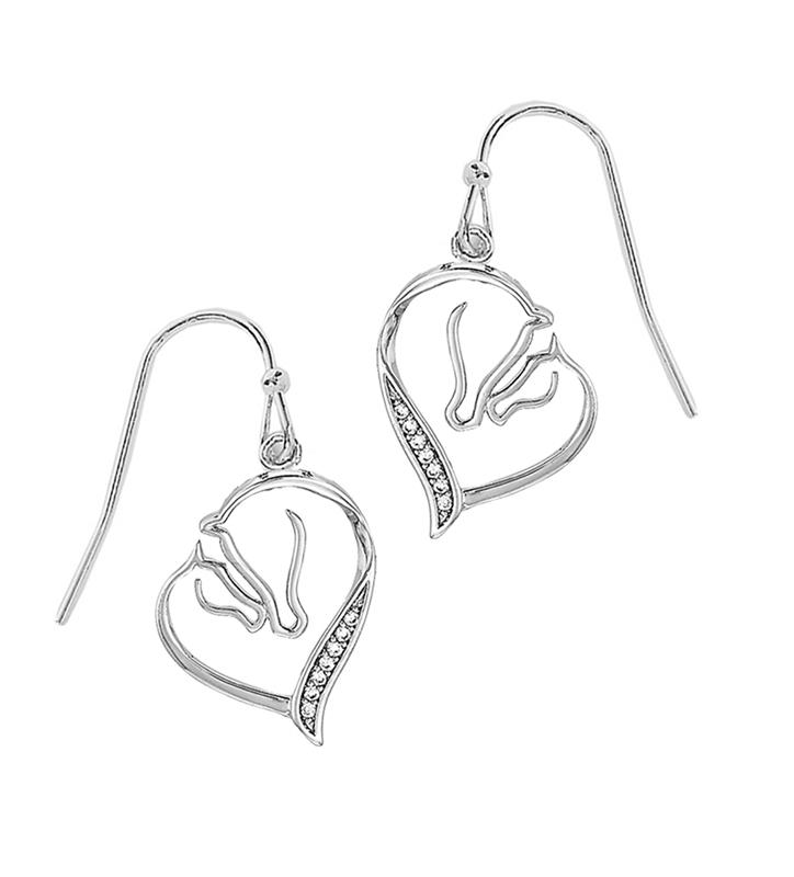 Rhodium-Plated Mare and Foal Earrings,JE650CL RHODIUM
