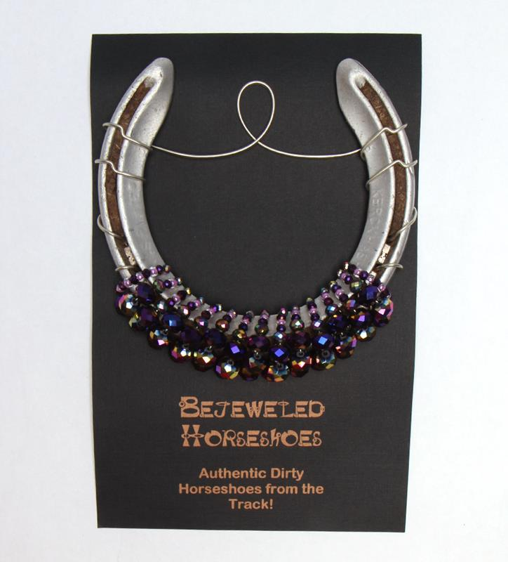 Racing Royalty Purple Bejeweled Horseshoe,Bejeweld Horseshoes,BC PURPLE HS