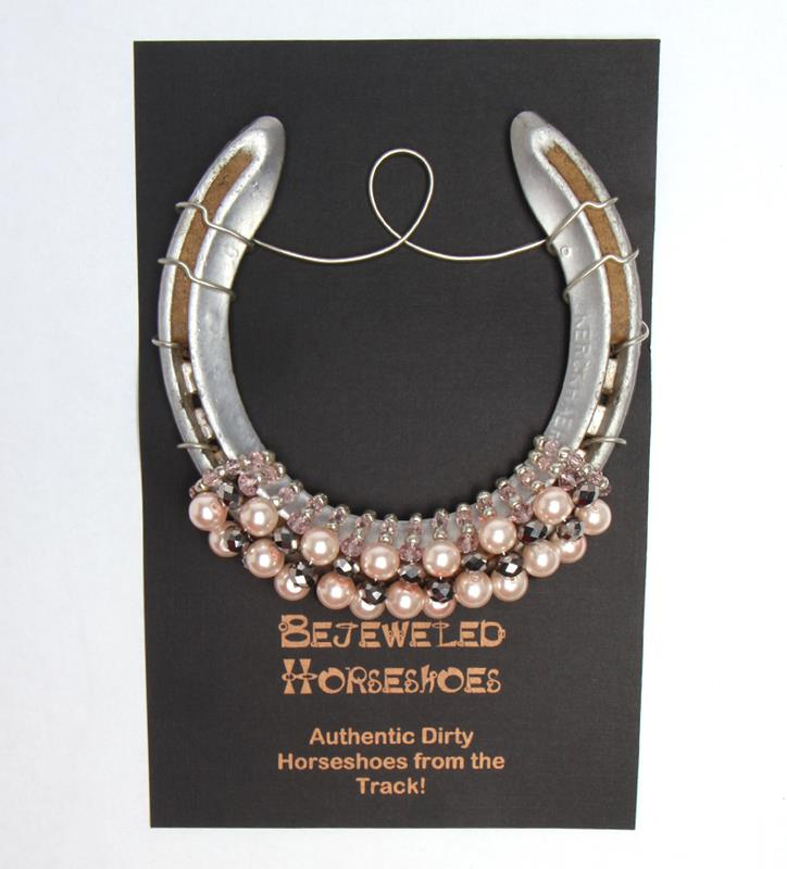 Light Pink Pearl Bejeweled Horseshoe,Bejeweld Horseshoes,PINK PEARL HS