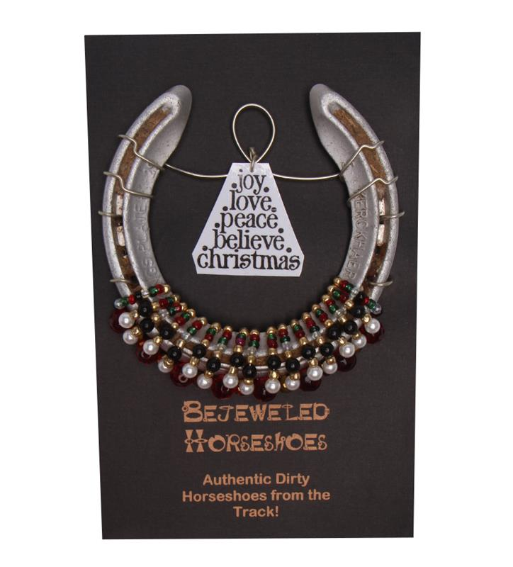 Holiday Bejeweled Horseshoe,Bejeweld Horseshoes,CHRISTMAS HS