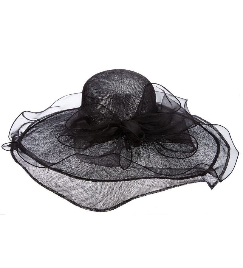 The Organza Trim Lurex Sinamay Hat,LD90-ASST BLACK