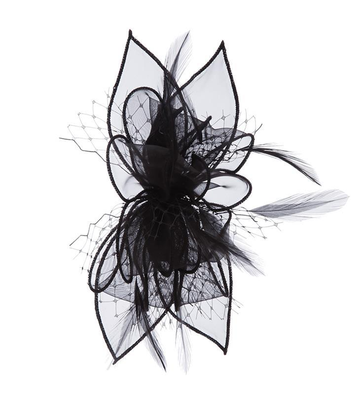 The Violetta Clip Fascinator,LDF61- BLACK