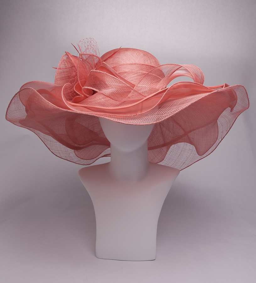 The Organza Trim Sinamay Hat,KD90DERBY-CORAL