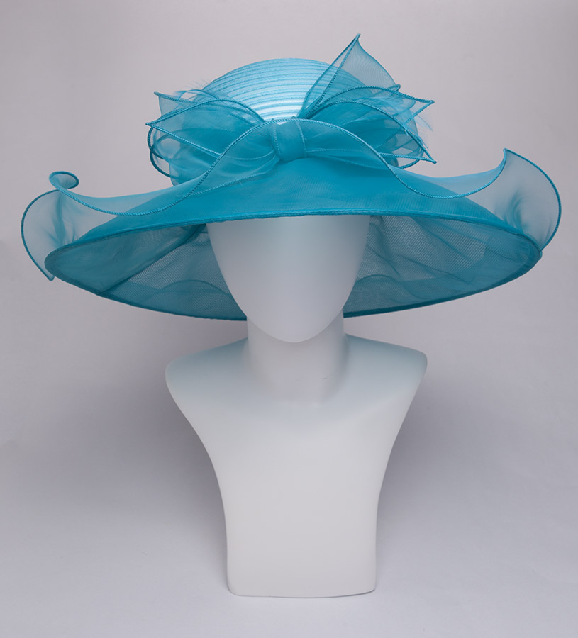 The Horsehair and Organza Trim Two-Tone Hat,KD92DERBY-TEAL