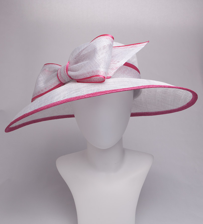 The Two-Tone Trimmed Bow Hat,KD73DERBY-HOT PINK