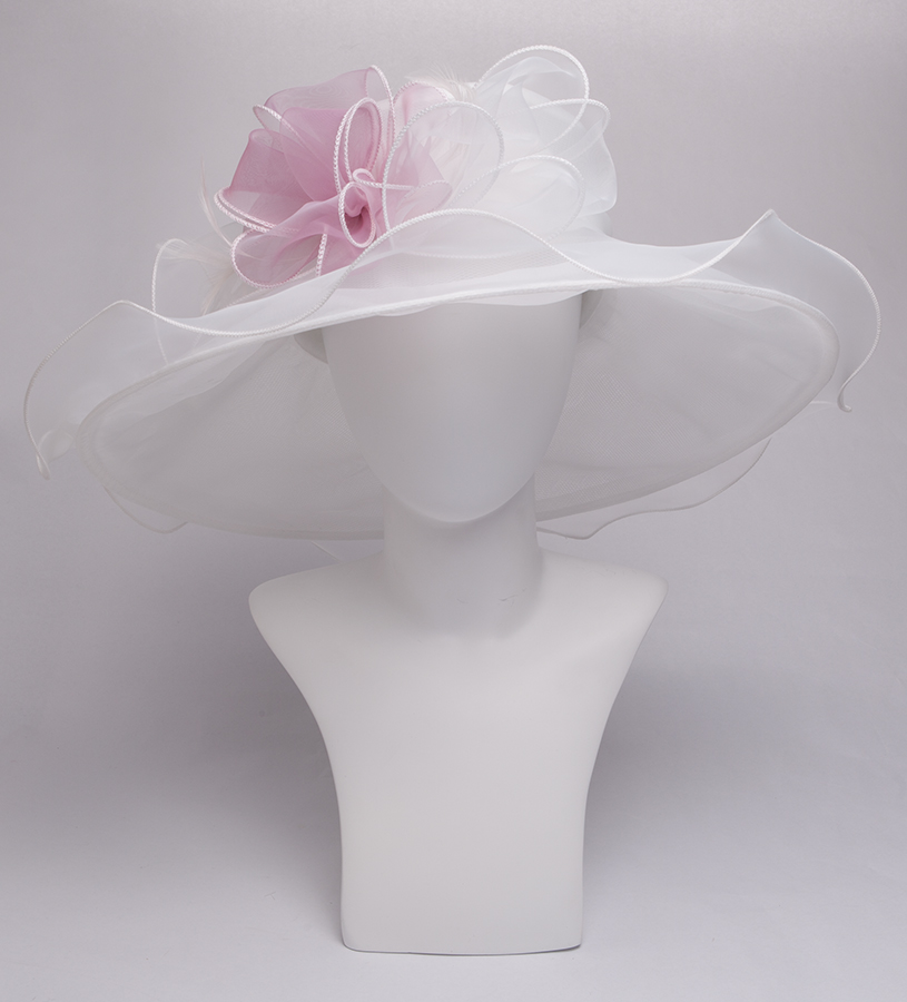 The Double Bow Organza Hat,KD100DERBY-IVORY