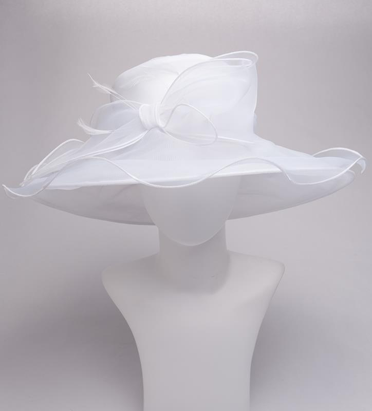 The Big Brim Bow Organza Hat,KD101DERBY-WHT