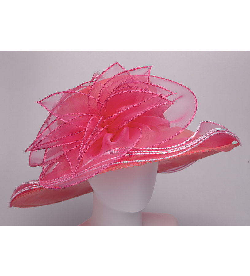 The Maybelle Organza Hat,LD102-CORAL