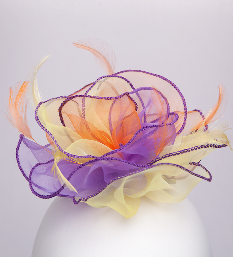 The Organza Rose Fascinator Clip,KD107DERBYF-MULTI