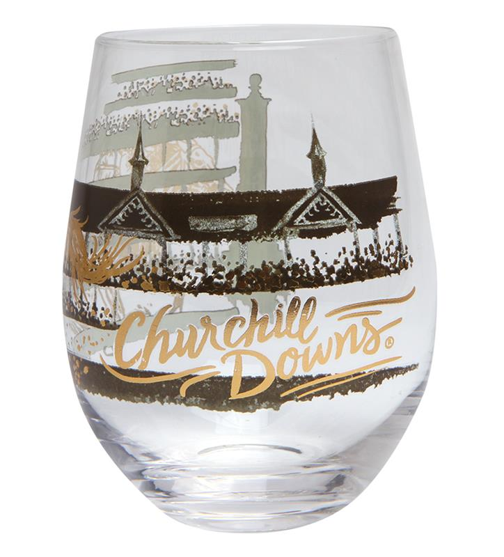 Gold Racehorse Stemless Wine Glass,GLSWS-TWIN SPIRES CD