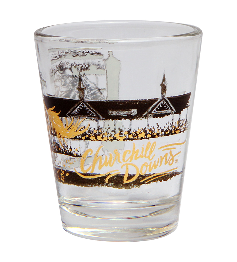 Gold Racehorse Shot Glass,SG-TWIN SPIRES CD