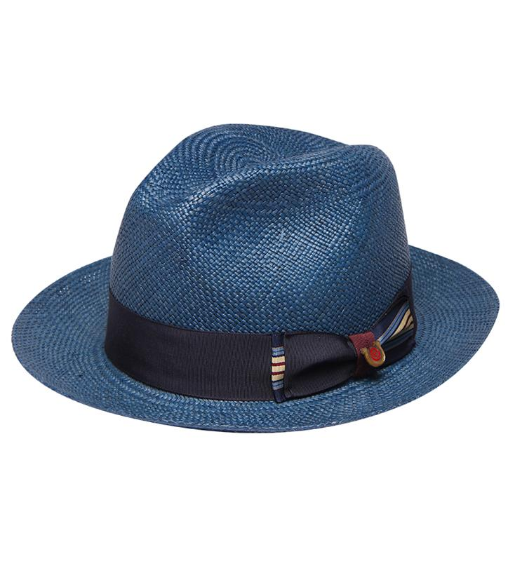 """Charm of Natural"" Straw Fedora,BS 5947CHON-NAVY"