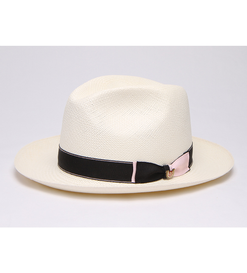 """Touch of Pink"" Straw Fedora,BS 5947TOP-BLEACH"